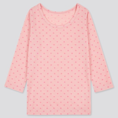 Toddler Heattech Long-Sleeve Scoop Neck T-Shirt, Pink, Medium