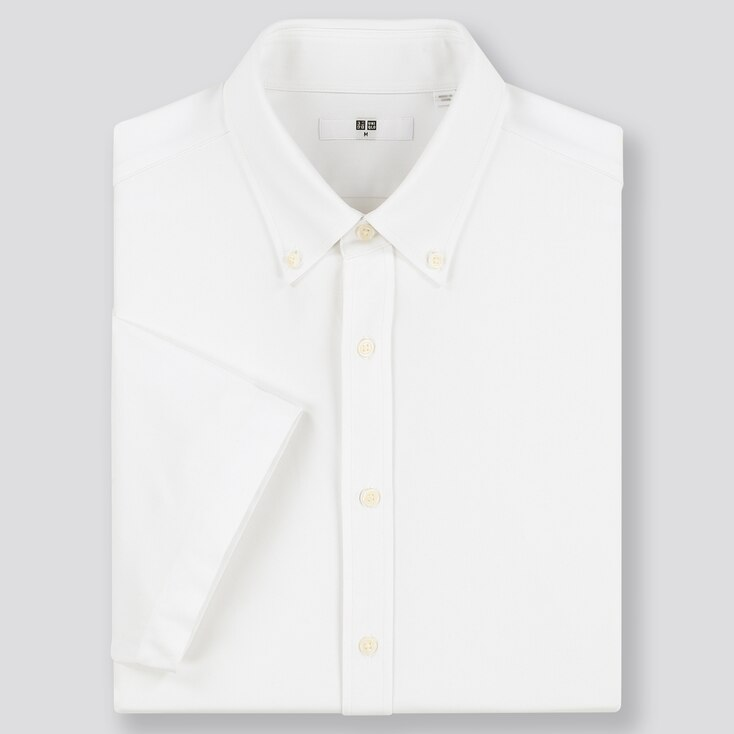 Men Dry Easy Care Comfort Short-Sleeve Shirt (Online Exclusive), White, Large