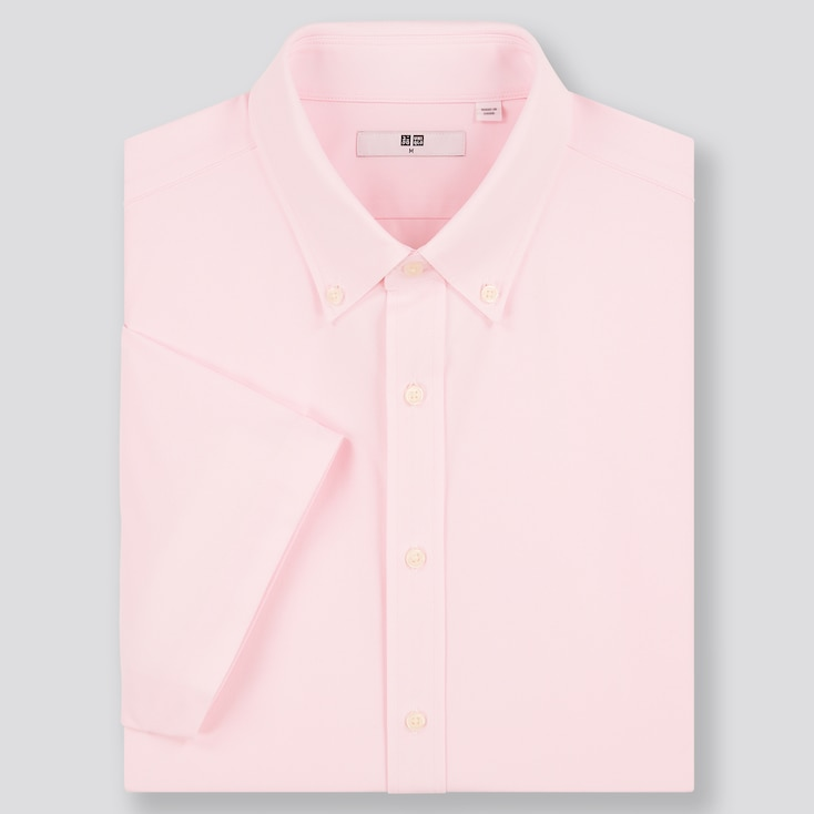 Men Dry Easy Care Comfort Short-Sleeve Shirt, Pink, Large