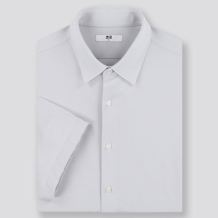 Men Dry Easy Care Comfort Short-Sleeve Shirt, Light Gray, Large