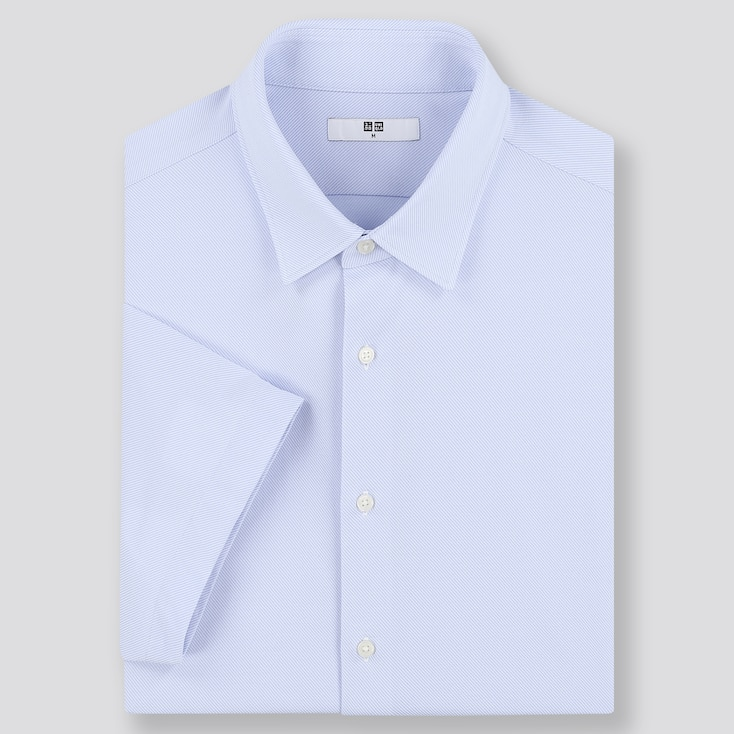 Men Dry Easy Care Comfort Short-Sleeve Shirt (Online Exclusive), Blue, Large