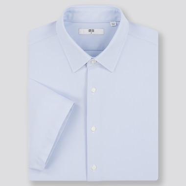 Men Dry Easy Care Comfort Short-Sleeve Shirt, Blue, Medium
