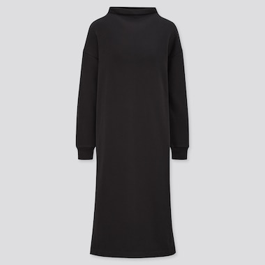 Women Ultra Stretch Warm Long-Sleeve Dress, Black, Medium
