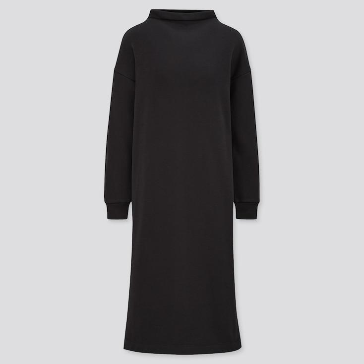 Women Ultra Stretch Warm Long-Sleeve Dress, Black, Large