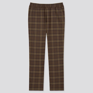 Men Stretch Flannel Easy Pants, Dark Brown, Medium