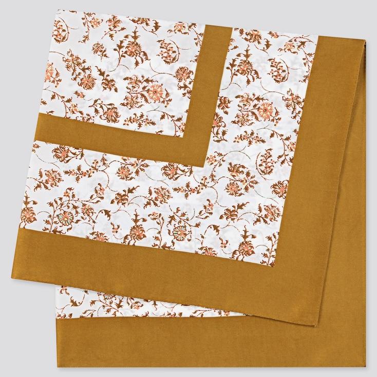 Women Printed Scarf, Orange, Large