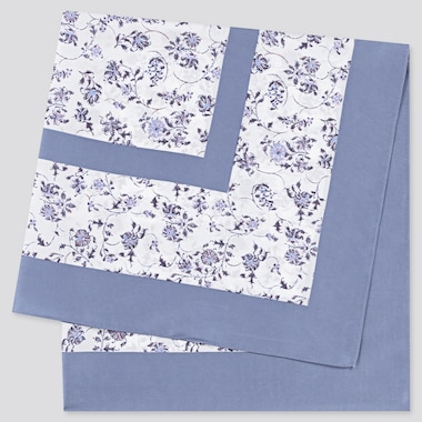 Women Printed Scarf, Light Blue, Medium