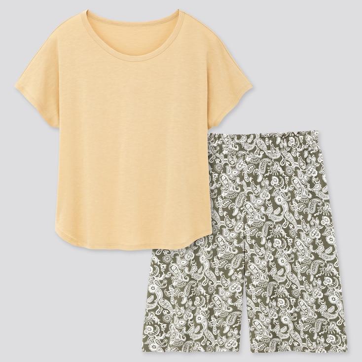 Women Printed Short-Sleeve Lounge Set, Yellow, Large