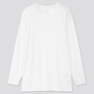 Men Airism Crew Neck Long-Sleeve T-Shirt (Online Exclusive), White, Medium