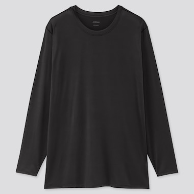 Men Airism Crew Neck Long-Sleeve T-Shirt (Online Exclusive), Black, Medium