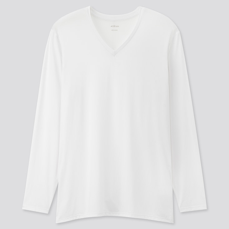 Men Airism V-Neck Long-Sleeve T-Shirt (Online Exclusive), White, Large