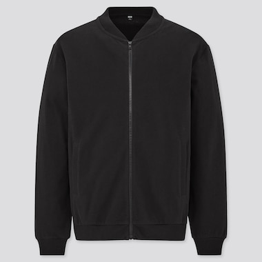 Men Brushed Cotton Zip-Up Blouson, Black, Medium