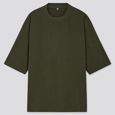 Men Brushed Cotton Crew Neck Half-Sleeve T-Shirt, Dark Green, Medium