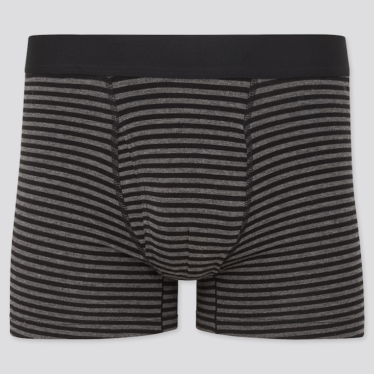 Men Supima© Cotton Striped Boxer Briefs, Black, Large