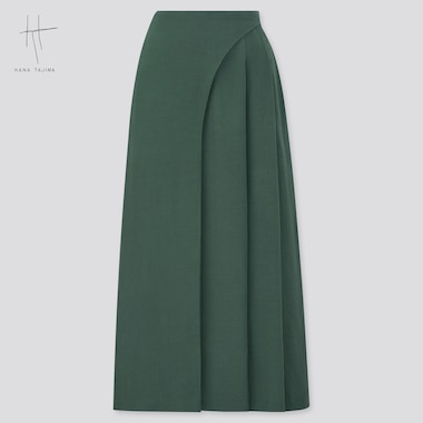 Women Rayon Tuck Skirt (Hana Tajima), Dark Green, Medium