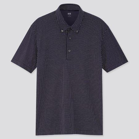 Men AIRism Piqué Dot Printed Polo Shirt