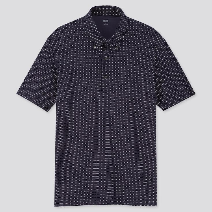 Men Airism Pique Dot Printed Polo Shirt, Navy, Large