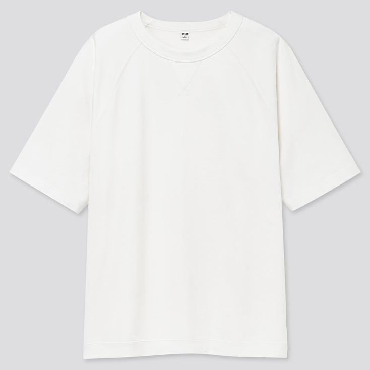 Men Raglan Crew Neck Half-Sleeve T-Shirt, White, Large