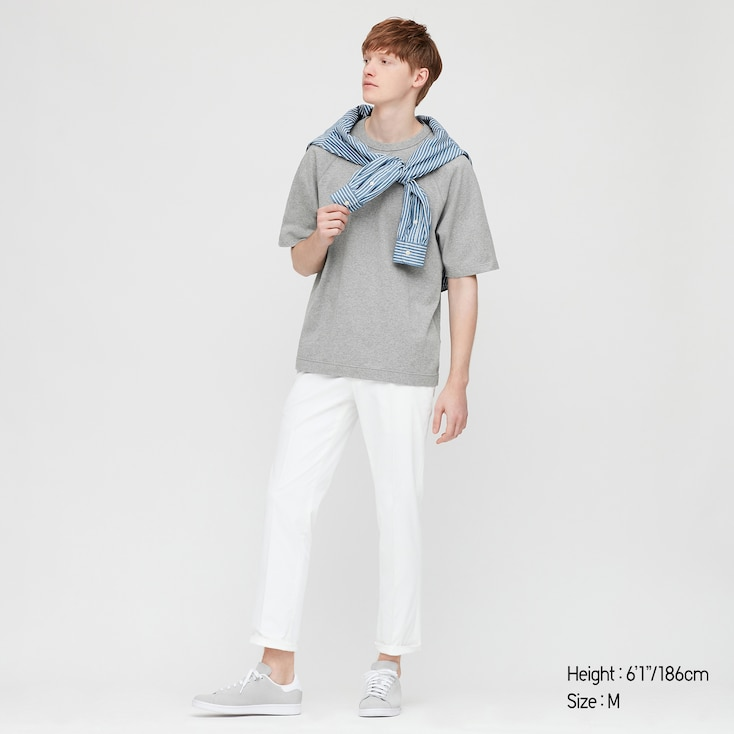 Men Raglan Crew Neck Half-Sleeve T-Shirt, Gray, Large