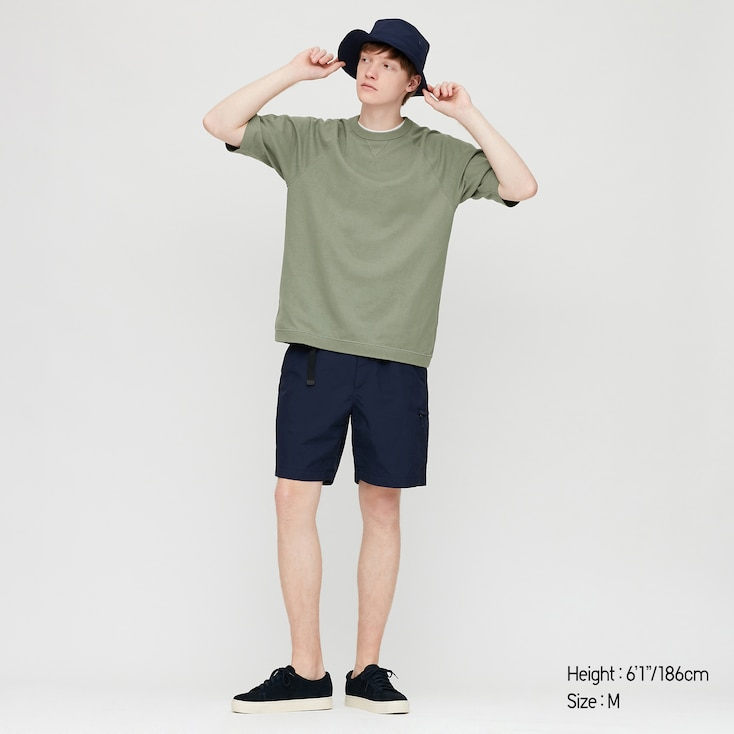 Men Raglan Crew Neck Half-Sleeve T-Shirt, Olive, Large