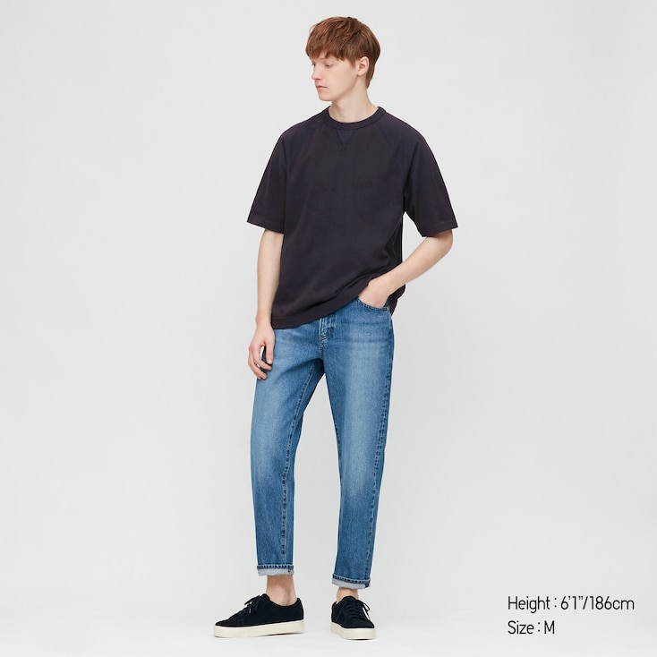 Men Raglan Crew Neck Half-Sleeve T-Shirt, Navy, Large