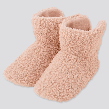 Women Fleece Slippers, Pink, Medium