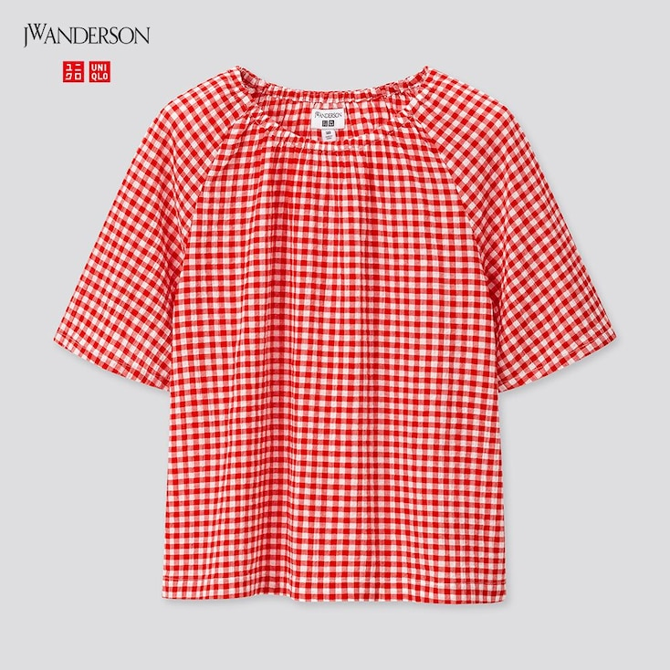 Girls Gathered Short-Sleeve Blouse (Jw Anderson), Red, Large