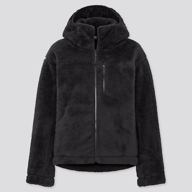 Women Windproof Fluffy Yarn Fleece Full-Zip Hoodie, Black, Medium