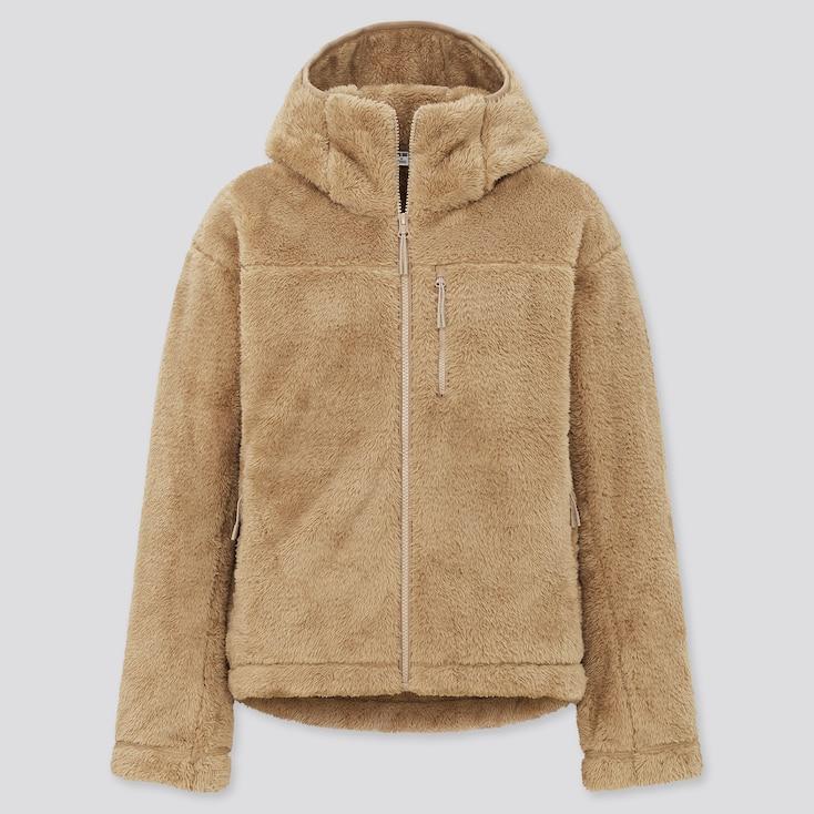 Women Windproof Fluffy Yarn Fleece Full-Zip Hoodie, Beige, Large