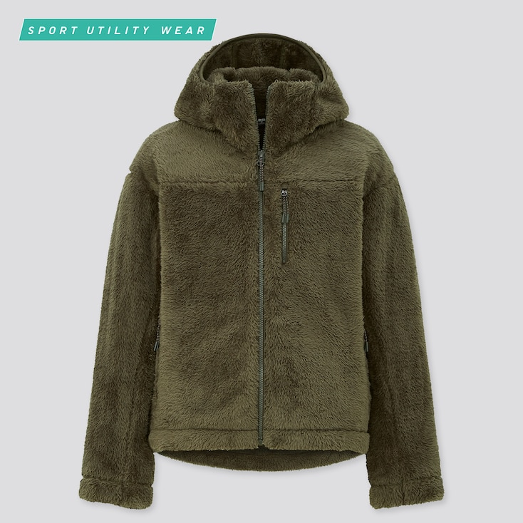 Women Windproof Fluffy Yarn Fleece Full-Zip Hoodie, Dark Green, Large
