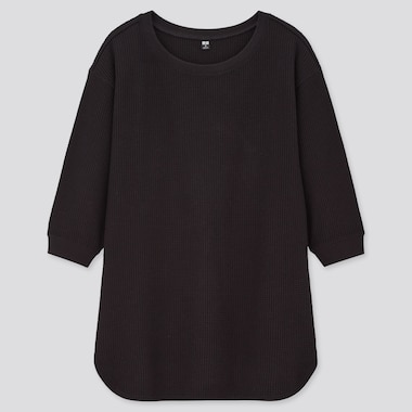 Women Waffle Crew Neck 3/4 Sleeve T-Shirt, Black, Medium