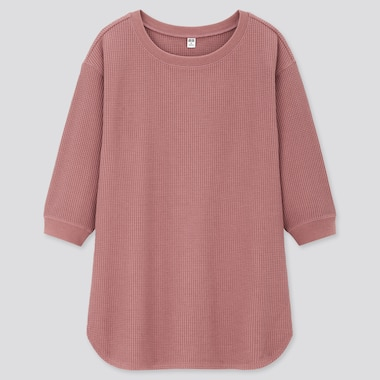 Women Waffle Crew Neck 3/4 Sleeve T-Shirt, Pink, Medium