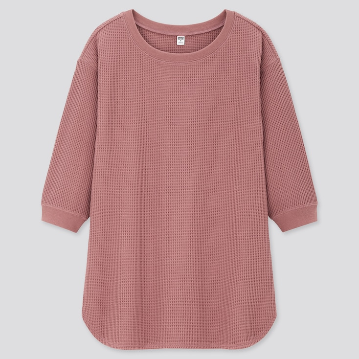Women Waffle Crew Neck 3/4 Sleeve T-Shirt, Pink, Large