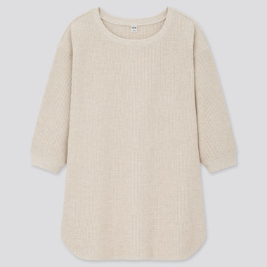 Women Waffle Crew Neck 3/4 Sleeve T-Shirt, Beige, Medium