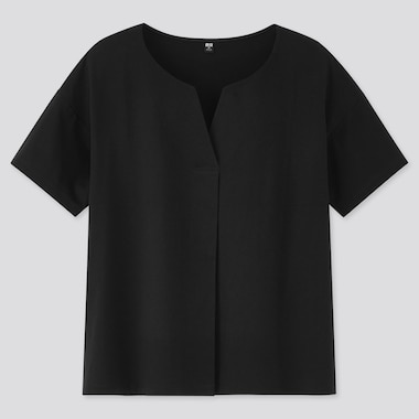 Women Mercerized Cotton Skipper Collar Short-Sleeve T-Shirt, Black, Medium