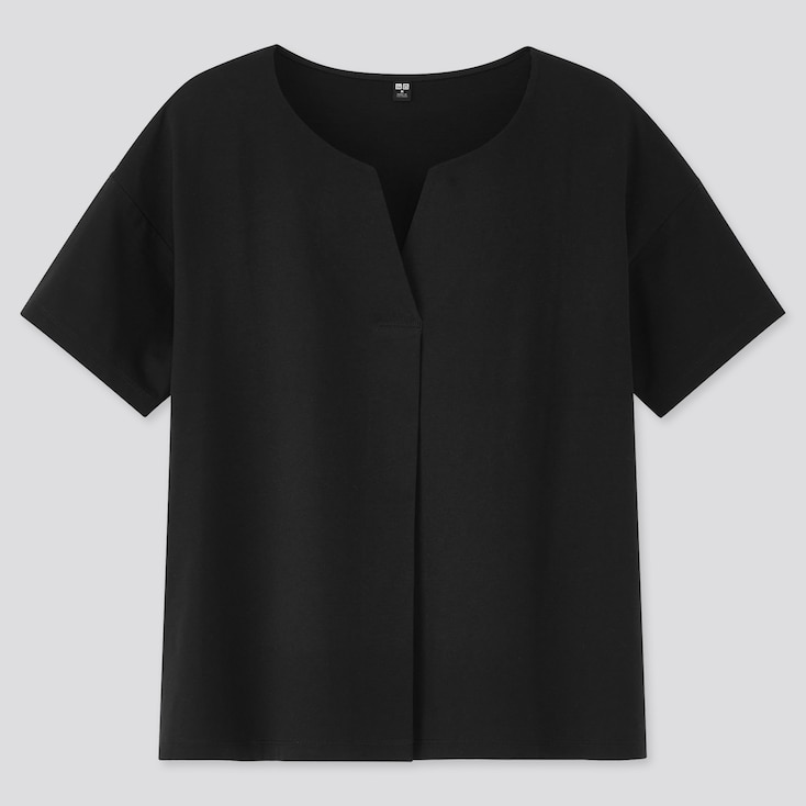 Women Mercerized Cotton Skipper Collar Short-Sleeve T-Shirt, Black, Large