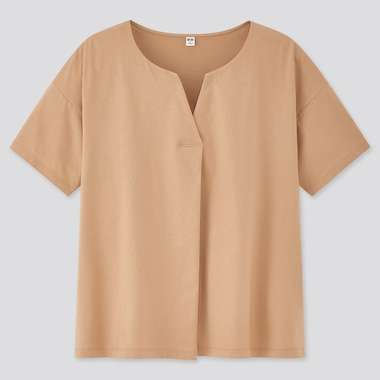 Women Mercerized Cotton Skipper Collar Short-Sleeve T-Shirt, Beige, Medium
