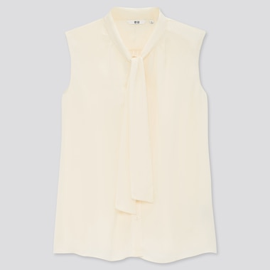 Women Bow Tie Sleeveless Blouse, Off White, Medium