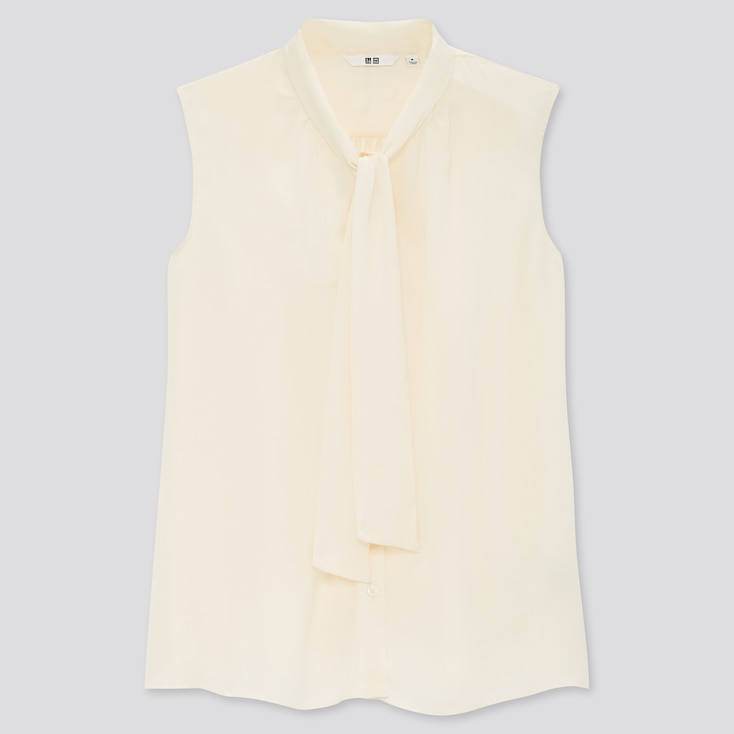 Women Bow Tie Sleeveless Blouse, Off White, Large