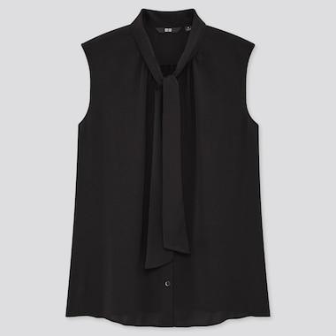 Women Bow Tie Sleeveless Blouse, Black, Medium