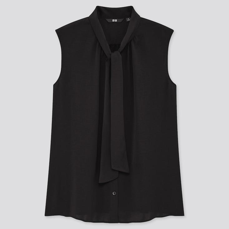 Women Bow Tie Sleeveless Blouse, Black, Large