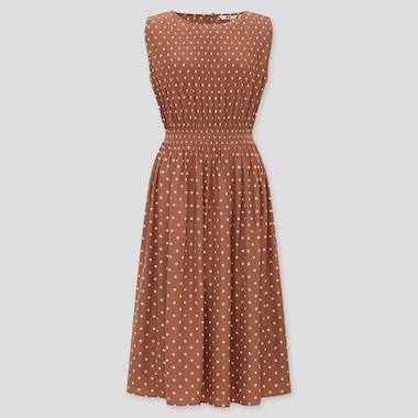 Damen Gerafftes Ärmelloses Kleid mit Muster