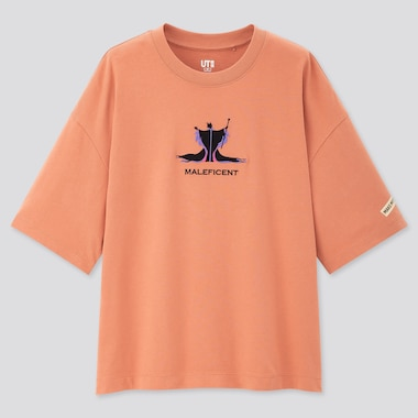 Women Disney Princesses & Villains Ut (Short-Sleeve Graphic T-Shirt), Light Orange, Medium