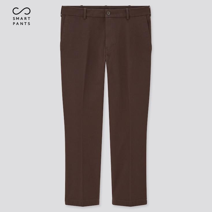 Men Smart 2-Way Stretch Cotton Ankle-Length Pants, Dark Brown, Large