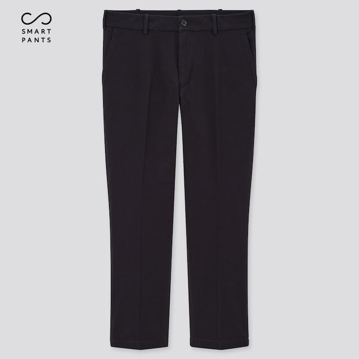 Men Smart 2-Way Stretch Cotton Ankle-Length Pants, Navy, Large