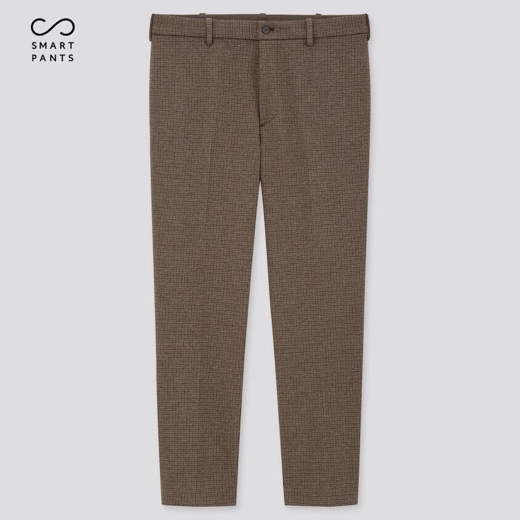 Men Smart 2-Way Stretch Jersey Ankle-Length Pants, Dark Brown, Large