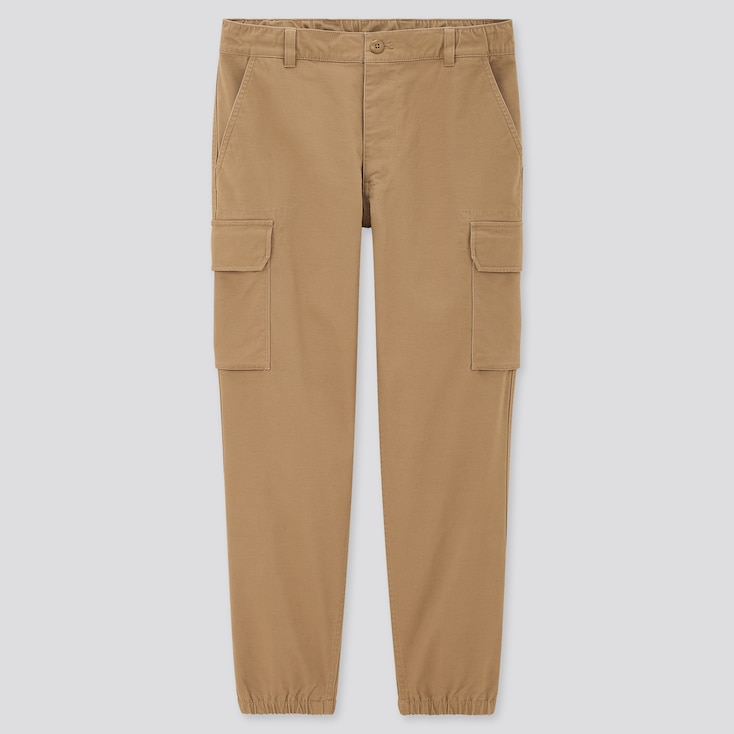 Men Cargo Jogger Pants, Khaki, Large