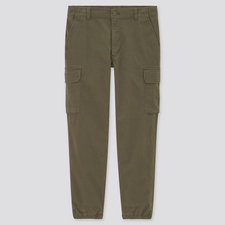 Men Cargo Jogger Pants, Olive, Large