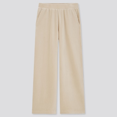 Women Corduroy Wide Straight Pants, Off White, Medium
