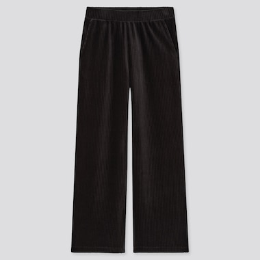 Women Corduroy Wide Straight Pants, Black, Medium